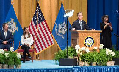 01/09/19  Wesley Bunnell | Staff  Governor Ned Lamont speaks to guests after being sworn in as governor.