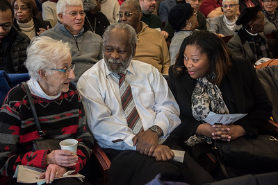 The Town of Davidson's inaugural Martin Luther King Jr. Day ceremony was an occasion for neighbors to meet and greet. (Bill Giduz photo)