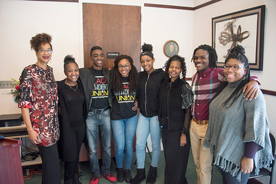 Participants in the Town of Davidson's inaugural Martin Luther King Jr. Ceremony included: (l-r) Tracy Mattison Brandon, members of the Hough H.S. Black Student Union, Davidson resident Chandra DuBose, Davidson College junior Maurice Norman, and Davidson first year student Jaelyn Taylor.