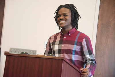 Davidson junior Maurice Norman provided remarks at the Town of Davidson's Martin Luther King Jr. Ceremony at Town Hall. (Bill Giduz photo)