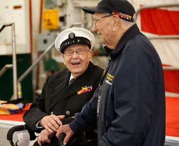 Robert Almquist, WW II veteran to visit the mast of the USS Oakland and the USS Hornet