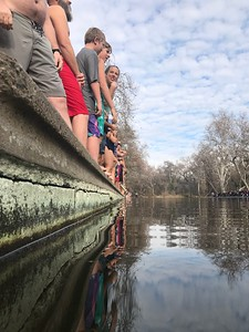 """Swimmers wait to be given the signal to dive into the waters of One Mile in lower Bidwell Park in Chico Wednesday morning, in the annual """"Polar Bear"""" plunge. (Robin Epley -- Enterprise-Record)"""