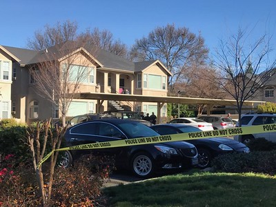 Police tape blocks off the scene where a shooting took place Monday morning on Hartford Drive in Chico. (Robin Epley -- Enterprise-Record)