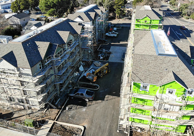 Construction continues on a new apartment complex off of Walnut Street on Thursday in Chico. (Matt Bates -- Enterprise-Record)