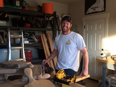 Cody Anderson makes wood products from Camp Fire-burned trees in his Chico Ca home Thursday. (Laura Urseny -- Enterprise-Record)
