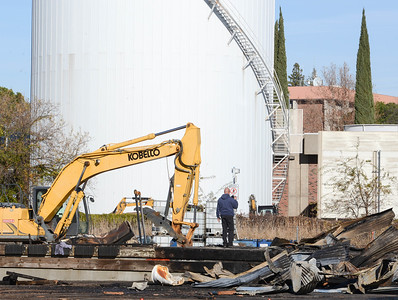 The charred remains of a fuel warehouse are seen Thursday off Nord Avenue in Chico. (Matt Bates -- Enterprise-Record)