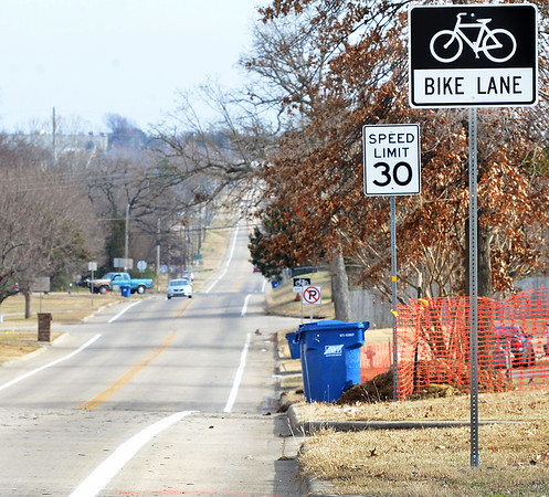 KEVIN HARVISON | Staff photo<br /> New Bike Lanes and Signs are up on East Monroe Avenue Bike Laws will be in effect.