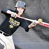 KEVIN HARVISON | Staff photo<br /> McAlester Buff batter Gage Dollins bunts the ball during the beginning of batting practice at Mike Deak Field.