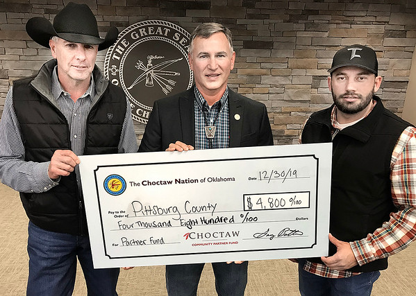 "KEVIN HARVISON | Staff photo<br /> The Choctaw Nation of Oklahoma presented the Cityof McAlester with a 4th quarter check for the Choctaw Community Partner Fund Monday at the McAlester Community Center witht he sum of $11,200. Pictured from left Ross Selman, Pittsburg County Commissioner District 3, Robert Karr, Choctaw District 11 Councilman and Pittsburg County Commissioner Charlie Rogers District 1. The Choctaw Nation is the third largest Indian Nation in the United States, with close to 200,000 tribal members. The first tribe over the Trail of Tears, the historic boundaries are in the southeast corner of Oklahoma. The vision of the Choctaw Nation is ""To achieve healthy, successful, productive, and self-sufficient lifestyles for a proud nation of Choctaws."" Tribal business success over the past few years has enabled the Choctaw Nation to begin to achieve this vision, as well as to assist the communities that are in the Choctaw Nation. Faith, Family and Culture are important values to Choctaw people. For more information about the Choctaw Nation, its culture, heritage and traditions, please go to  <a href=""http://www.choctawnation.com"">http://www.choctawnation.com</a>."