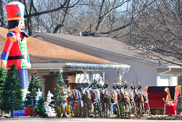 KEVIN HARVISON | Staff photo<br /> This festive Christmas decorations can be seen at 729 West Washington Avenue in McAlester.