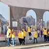 KEVIN HARVISON | Staff photo<br /> A group of Gifted and Talented students recently gathered for a walk down Choctaw Avenue. Pictured students check out the mural on Second Street and Choctaw Avenue.