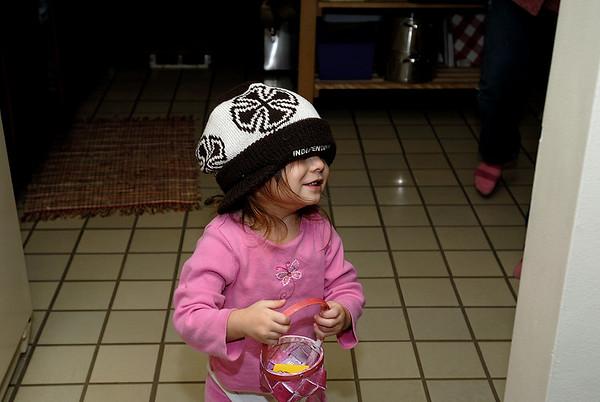 1/23/07 Madeline wearing Jonas' lid