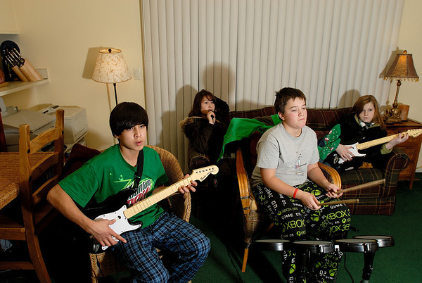 1/1/09 Kids playing Rock Band in the wee hours of New Year's Day