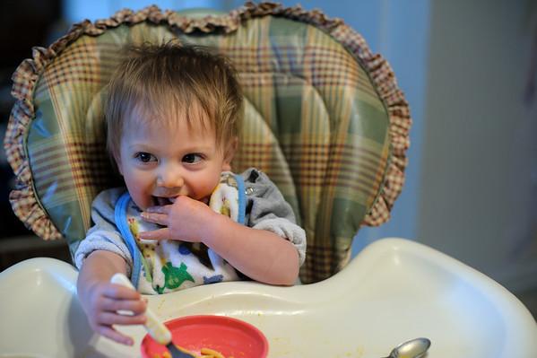2/18/12 Micah enjoying his Mac & Cheese