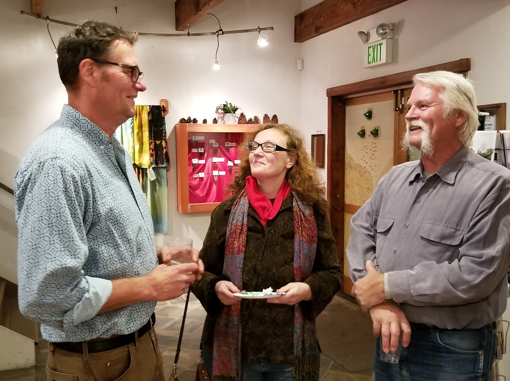 . AURA WHITTAKER for the Willits News Local artist Darrell Carpenter talks with life-long friend Debra Best and architect David Groezinger about growing up in Redwood Valley and Ukiah.