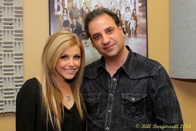 Lindsay Ell with Sony Music Canada's Alberta rep, Anthony Farrauto, in CFWE studios