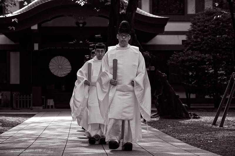 "Shinto priests begin their walk to Torii gate before they administer a Shinto rite ""Kiyoharai"""