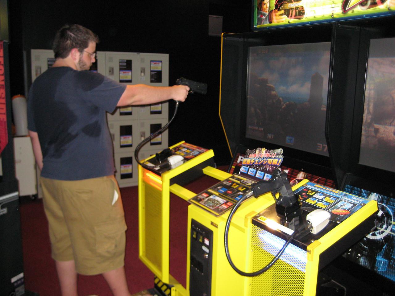 Josh dominates at the shooting games.