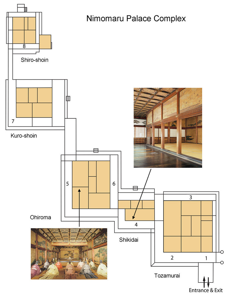 Photography was not allowed inside the palace, however here is the floor plan. Every one of the rooms in the castle has a formal name, but I'll only address a few of the important ones here.<br /> <br /> 1) The Yanaginoma (Willow Room) and, above it, the Wakamatsunoma (Young Pine Room). These rooms were used by inspectors to verify the identities of visiting feudal lords.<br /> 2) These three rooms are called Ichinoma, Ninoma and Sannoma (literally First, Second and Third room) and were used as waiting rooms for the visiting feudal lords.<br /> 3) The Chokushinoma chamber was the waiting area for the Imperial Messenger prior to his meetings with the shogun.<br /> 4) The Shikidai reception room was where visiting feudal lords would offer their greetings and gifts to the councilors stationed here.<br /> 5) The Ichinoma and Ninoma form the First and Second Grand Chambers in the Ohiroma building where the shogun would hold public meetings with the feudal lords.<br /> 6) The Yarinoma (Spear Room) allowed storage of weapons and where warriors could be hidden in case they were needed to protect the shogun as he hosted the public meetings.<br /> 7) The Kuro-shoin (Inner Audience Chamber) is a smaller version of the Ohiroma and was used by the shogun to host private meetings<br /> 8) And finally, the inner-most Shiro-shoin was the shogun's private study and bedroom.