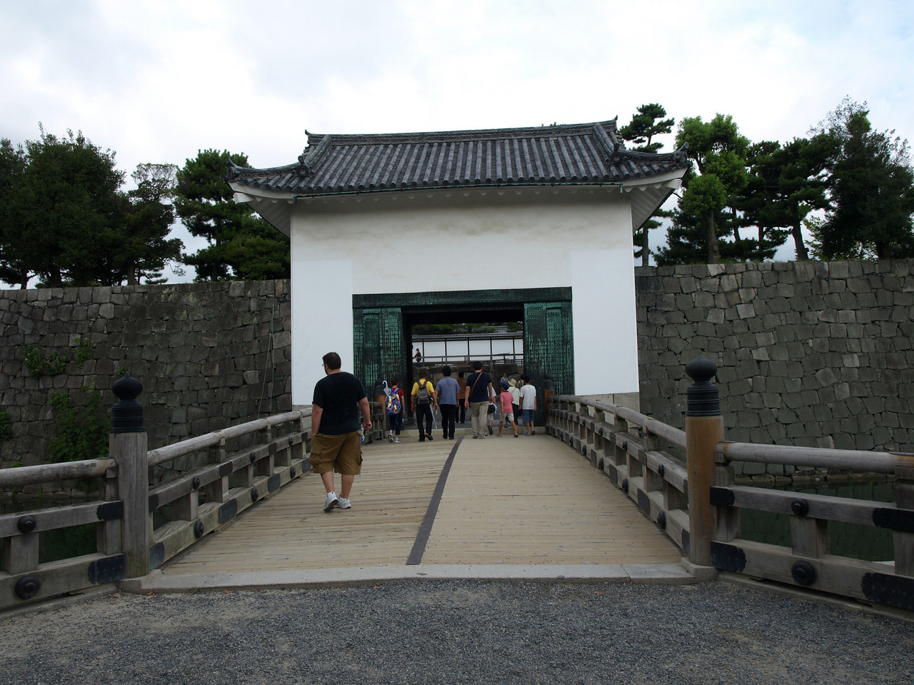 Walking up to the East Bridge crossing the inner moat leading through the Honmaru Turret Gate