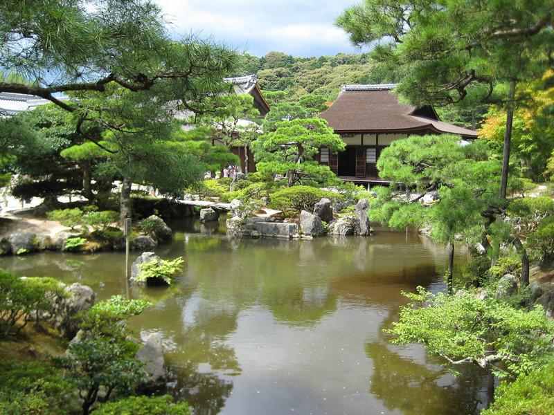 A view over the Brocade Mirror Pond (Kinkyo-chi)