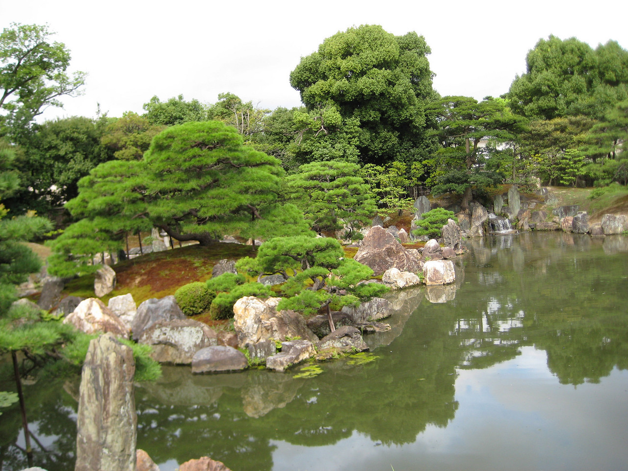 Pictured here is the main island that lies in the center of the pond. It is called Mt. Horai and, according to our guidebook, here once lived a legendary hermit with miraculous powers.