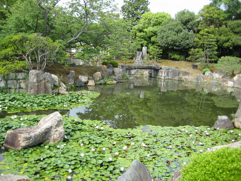 Notice the small stone bridge that allows access to the back section of the garden.