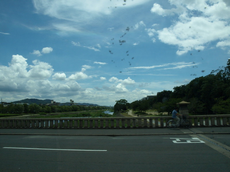 Looking south as we pass the Kamo River (Kamogawa).