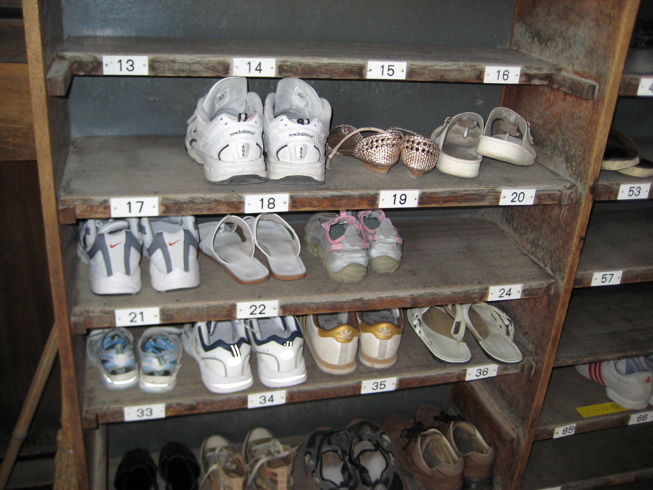 The getabako or shoe rack where we will keep our shoes. Josh's tennis shoes are in slot 18 and mine will join his shortly in slot 17.