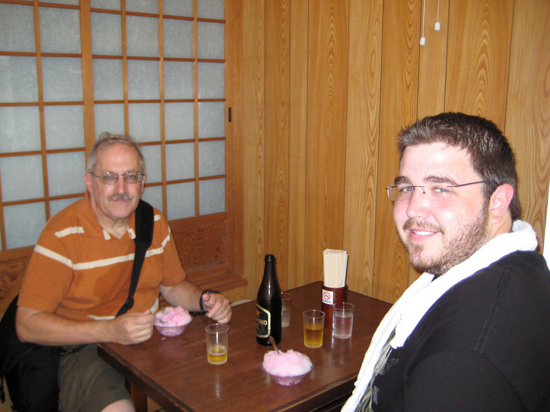 We enjoy our shaved ice and cream. Yes, I see the beer but keep in mind that it is around 8 PM back home so it's OK.