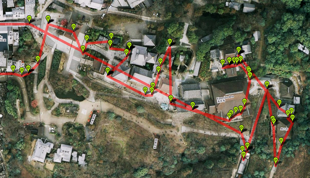 "An overview of Kiyomizu-dera geotagged with the locations where we took photos. To get you started, the Devo Kings Gate pictured above is in the upper left corner of this map. Remember, you can get your own map just by clicking the ""Map This"" button at the top of the page. The red line is just a chalk-line snapped between photos, but it does show roughly the path that we took."