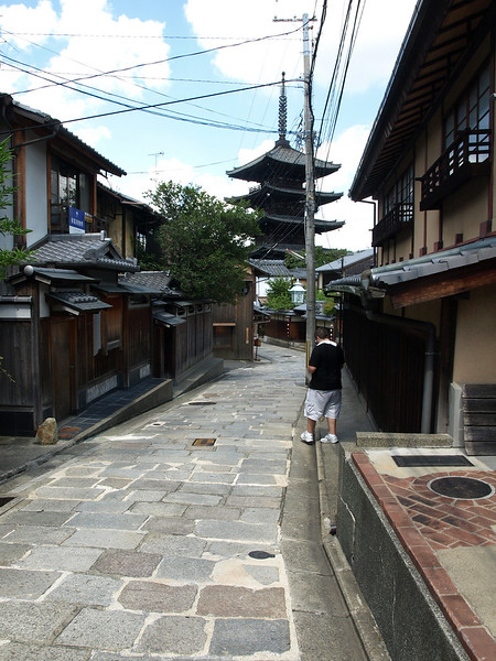 Our decision to continue on pays off. Ahead of us, you can see the five-story Yasaka Pagoda