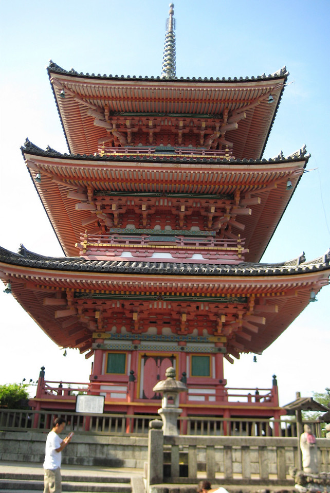 As we continue our walk, we come up to Sanju-No-To, a three-storied pagoda, the largest of its kind in Japan