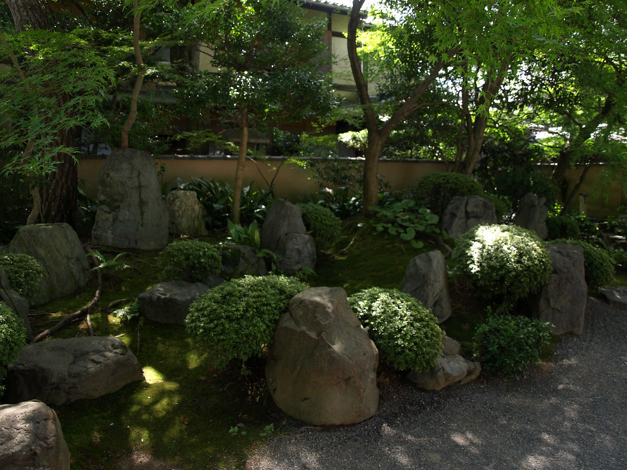 A rock garden surrounds the pagoda