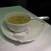 UAL 837 F dinner beginnings: mushroom brie soup (very hot).