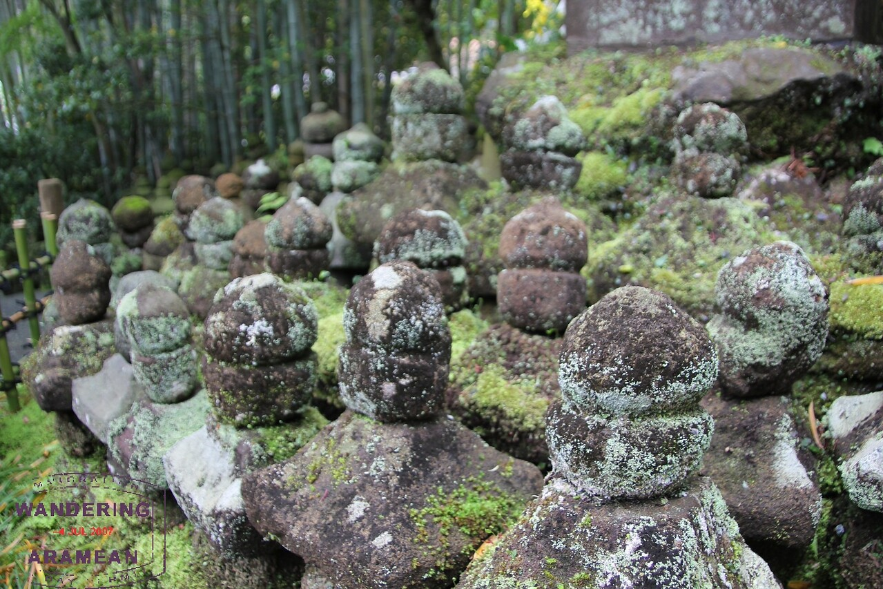 Memorial stones left in honor of fallen warriors at the Kokokuji Temple