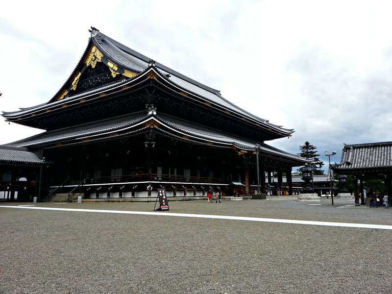 Higashi Honganji Temple complex in Kyoto that I visited  during my time on my own. Illustrates the feature of Japanese architecture that puts the roof on to create shadows.