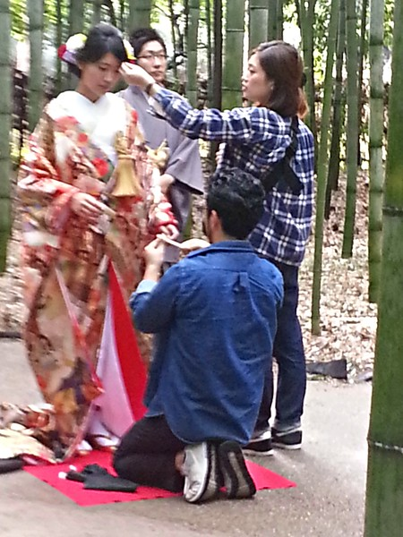 The Bamboo Forest is a well-know Arashiyama site. Here a couple are having their pre-wedding photos done in the bamboo forest.