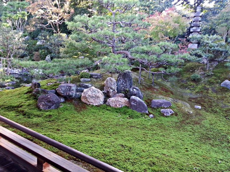 Eri took me to the Kennin-ji Zen complex for a 1-hour meditation class with a monk whose posture and bearing and voice were admirable. We sat on the tatamis and looked out on a garden like this