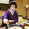After she showed us how to eat shabu-shabu, a hotpot dish. Because she is no longer in training, she can use a wig, and said she sometimes wears jeans at home.