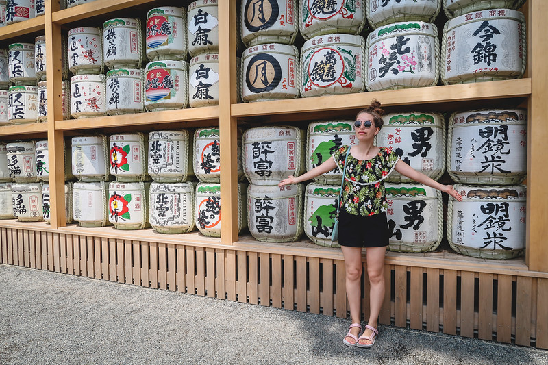 A wall of sake offerings on our day trip to Kamakura.