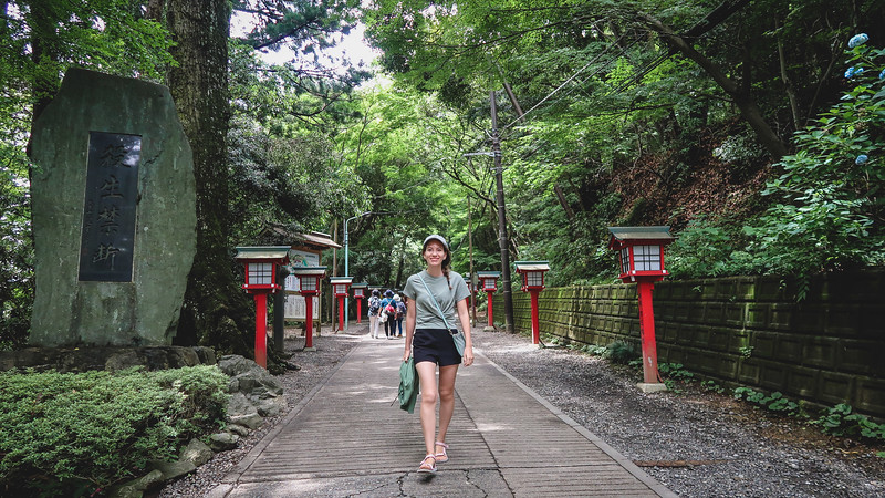 Hiking on our day trip to Mount Takao.