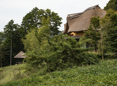 A  copy of an old thatched house in Normandy