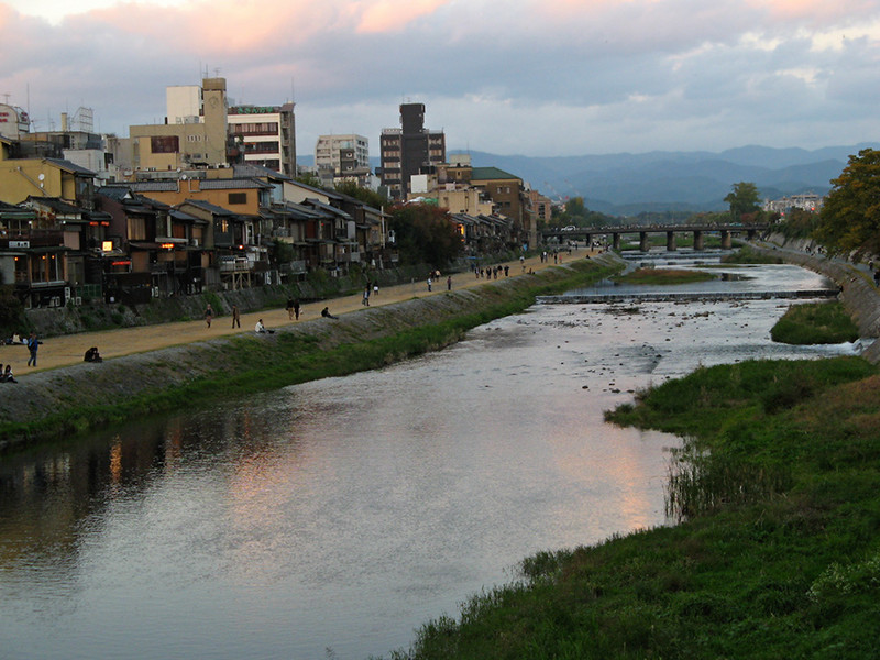 The Kamo River at the edge of the Gion area, as seen from the Shijo Bridge