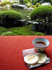 We were served green tea and rice biscuits during our visit