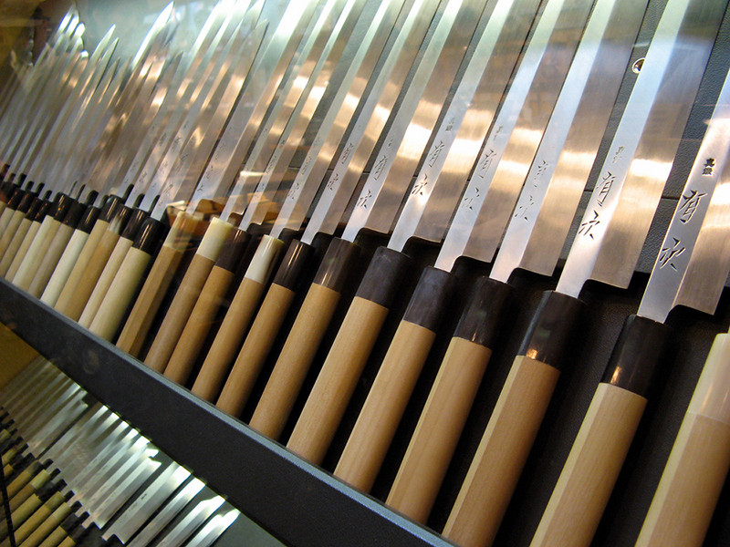 The Aritsugu knife shop dates back to 1560, and the hand-crafted knives here are truly works of art.