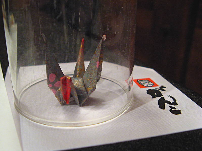 Folded paper crane under the glass