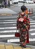 A beautiful kimono spotted on a very ordinary street