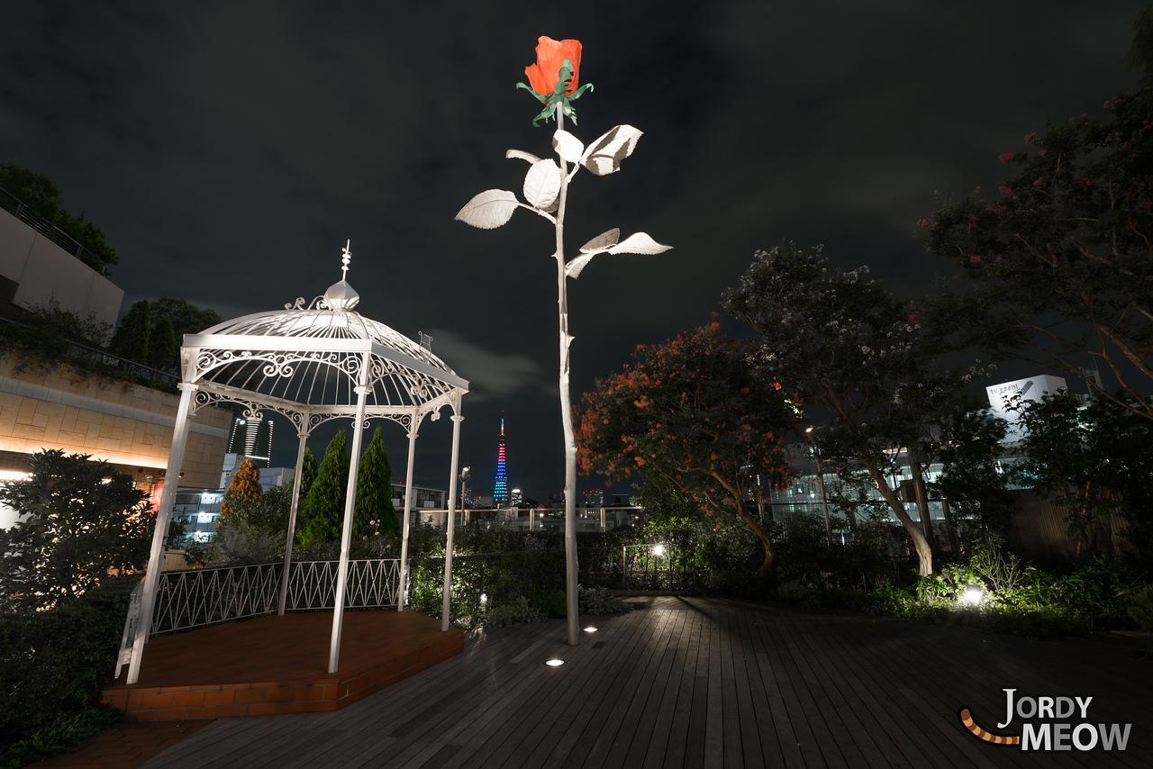 Metallic rose in front of Roppongi Hills.