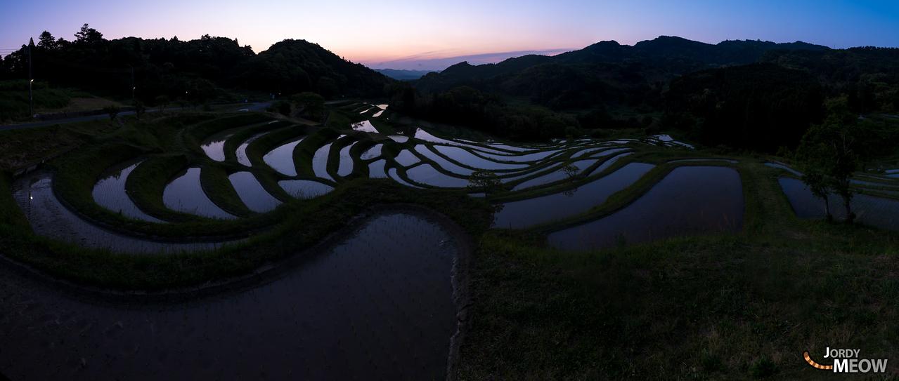 Sunrise at the Oyama Rice Terraces at Senmaida.